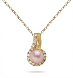 7MM All-Natural Freshwater Pink Pearl and 0.32 CTW Diamond Pendant in 10K Yellow Gold