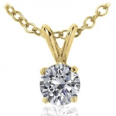 0.40 CT Round Diamond Solitaire Pendant in 14K Yellow Gold