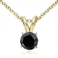 0.75 CT Round Black Diamond Solitaire Pendant in 14K Yellow Gold