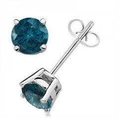 0.40 CTW Round Blue Diamond Solitaire Stud Earrings in 14K White Gold