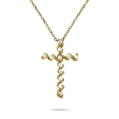 0.24 Carat Diamond Cross Pendant in 10K Yellow Gold