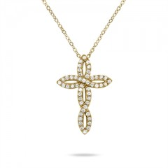 0.25 Carat Diamond Cross Pendant in 10K Yellow Gold