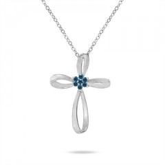 0.28 Carat Blue Diamond Flower Cross Pendant in 10K White Gold