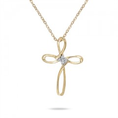 4 Stone Diamond Flower Cross Pendant in 10K Yellow Gold
