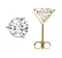 0.10 CTW Round Diamond Martini-set Stud Earrings in 14K Yellow Gold