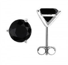 2.00 CTW Round Black Diamond Martini-set Stud Earrings in 14K White Gold