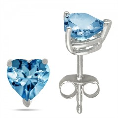 0.4Ct Heart Aquamarine Earrings in 14k White Gold