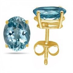 1.3Ct Oval Aquamarine Earrings in 14k Yellow Gold