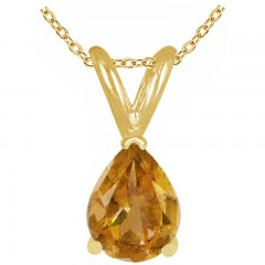 0.45Ct Pear Citrine Pendant in 14k Yellow Gold