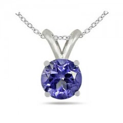 0.46Ct Round Tanzanite Pendant in 14k White Gold