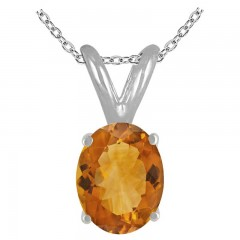 0.75Ct Oval Citrine Pendant in Sterling Silver Gold