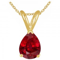 0.75Ct Pear Ruby Pendant in 14k Yellow Gold
