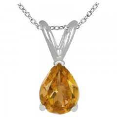 1.10Ct Pear Citrine Pendant in 14k White Gold