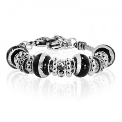 Black Murano Glass Type Beed and Black Crystal Bracelet, 7.5""