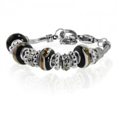 Black Murano Glass Type Beed and Crystal Bracelet, 7.5""