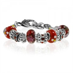 Red Flower Murano Glass Type Beed and Red Crystal Bracelet, 7.5""