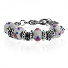 """White and Blue Dotted Murano Glass Type Beed and CZ Amethyst Crystal Bracelet, 7.5"""""""