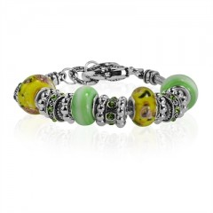 """Yellow and Light Green Murano Glass Type Beed and Green Crystal Bracelet, 7.5"""""""