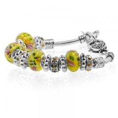 Yellow Flower Murano Glass Type Beed and Brown Crystal Bracelet, 7.5""