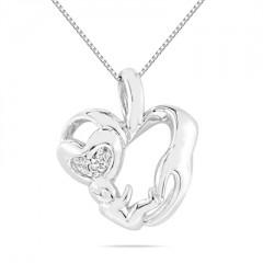 Diamond Mom Pendant in .925 Sterling Silver