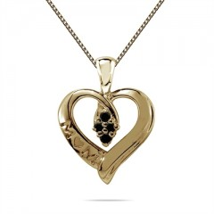 Black Diamond Mom Pendant in 10K Yellow Gold