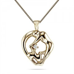 Mom and Child Diamond Pendant in 10K Yellow Gold