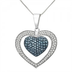 1 Ct Blue And White Diamond Heart Pendant In Sterling Silver