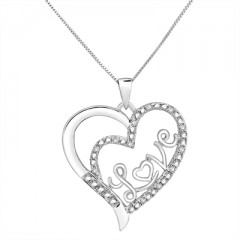 1/10Ct White Diamond Love Heart Pendant In Sterling Silver