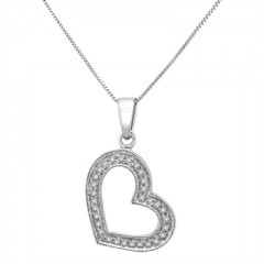1/10Ct White Diamond Pave Heart Pendant In Sterling Silver