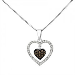 1/3 Ct Brown And White Diamond Heart Pendant In Sterling Silver