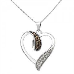 1/5Ct Brown And White Diamond Heart Pendant In Sterling Silver