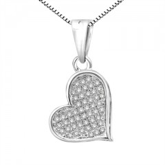 1/6 Ct White Diamond Heart Pendant In Sterling Silver