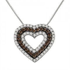 3/4 Ct Brown And White Diamond Heart Pendant In Sterling Silver