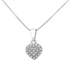 0.03Ct White Diamond Heart Pendant In Sterling Silver