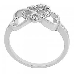 0.07Ct White Diamond Triple Heart Ring in Sterling Silver