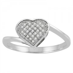1/10Ct White Diamond Heart Ring in Sterling Silver