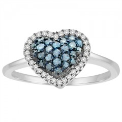 1/3Ct Blue and White Heart Ring in Sterling Silver