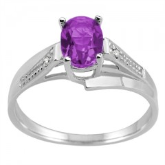 Oval Amethyst and Diamond Wave Ring in 10K Gold
