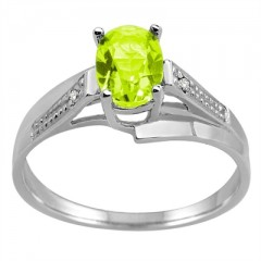 Oval Peridot and Diamond Wave Ring in 10K Gold
