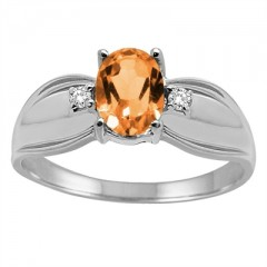 Oval Citrine and Diamond Ring in 10K Gold