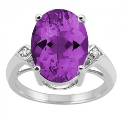 14x10 MM Amethyst and Diamond Ring in 10K Gold