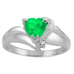 Heart Shaped Lab Created Emerald and Diamond Ring in 10K Gold