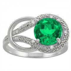 Lab Created Emerald and Diamond Love Knot Ring in 10K Gold