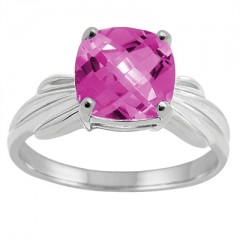 Cushion Cut Pink Topaz Ring in 10K Gold