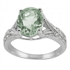 Oval Cut Green Amethyst and Diamond Antique Ring in 10K Gold