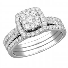 10k Gold 1ct TDW Diamond Halo Bridal Ring Set (H-I, I2)