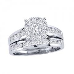10k White Gold 1 1/2ct TDW Diamond Bridal Ring Set (H-I, I2)