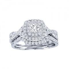 10k White Gold 7/8ct TDW Diamond Halo Bridal Ring Set (H-I, I1-I2)