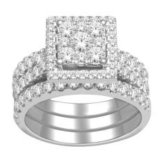 10k Gold 2ct TDW Diamond Halo Bridal Ring Set (H-I, I2)