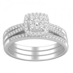 10k White Gold 1/2ct TDW Diamond Bridal Ring Set (H-I, I2)